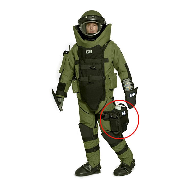 Body cooling unit on bomb squad operator