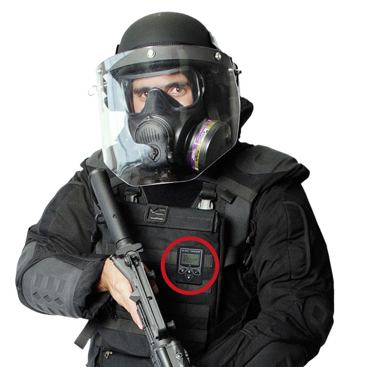 Blast Tracker worn on a ballistic protective suit